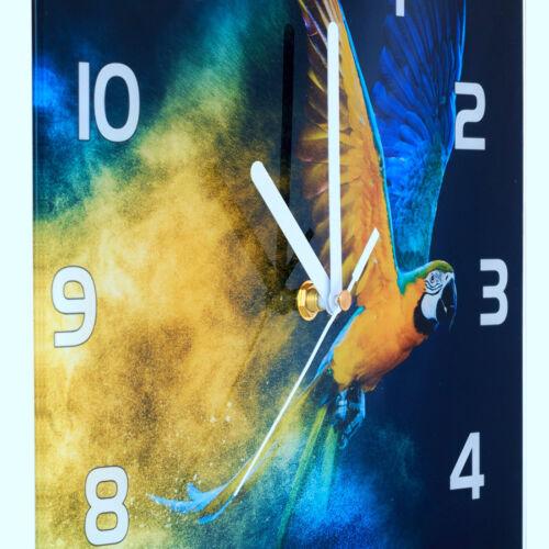 Glass Wall Clock Kitchen Clocks 30 cm round silent Rose Purple
