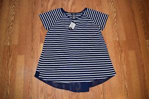 2f3d91681e8 NWT Womens Premise Navy Blue White Striped Shirt Size M Medium  68 ...