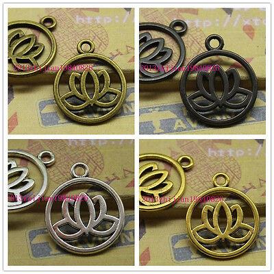 15//45pcs 20mm lotus antique silver delicate lovely  Charm pendant accessories