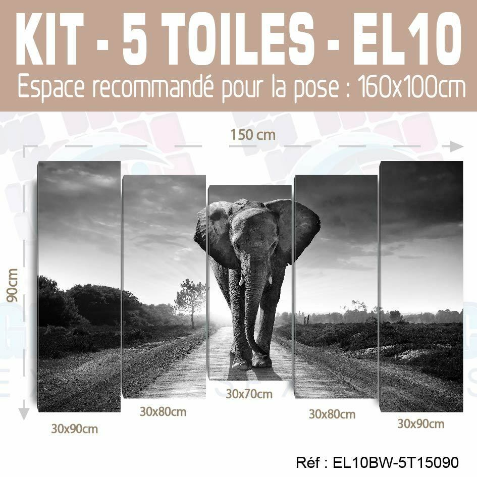 150x90cm- Kit 5 TOILES IMPRIMEE DECO TABLEAU DECO IMPRIMEE - ELEPHANT EL10BW-5T15090 04592c