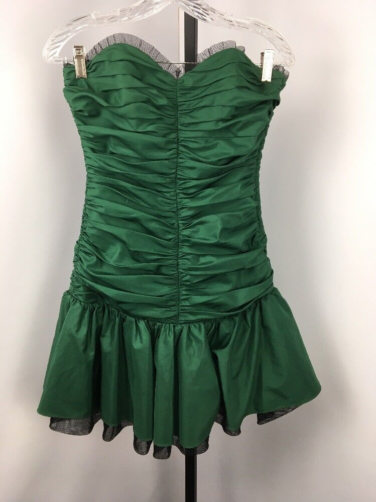 VTG 90s Betsey Johnson Evening Prom Mini Tea Party Dress 4 Green Bubble Ruched