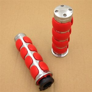 Chrome-Red-Plain-7-8-034-Rubber-Handle-Grips-For-Suzuki-GSXR-600-750-1000-7-8-034-Bar
