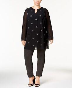Alfani-Women-039-s-Plus-Size-Jeweled-Tunic-Top-NWT-Deep-Black-Plus-size-0X