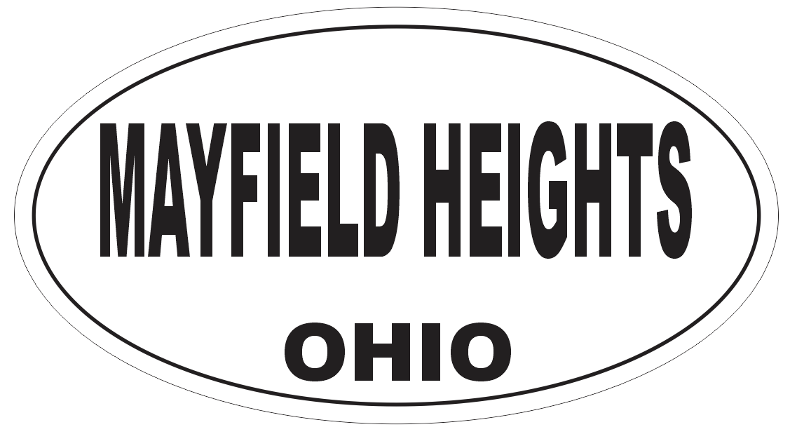 Mayfield Heights Ohio Oval Bumper Sticker or Helmet Sticker D6146