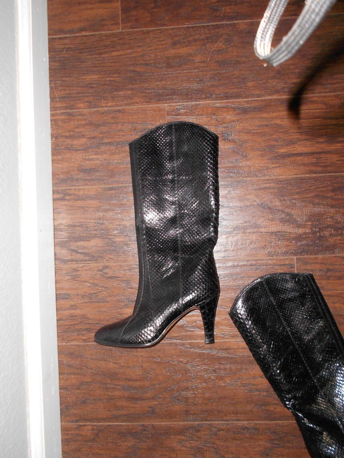SERENA D'Italia SZ 34.5  Knee Knee Knee High Black Snake  Leather Boots Handmade   750 02c182