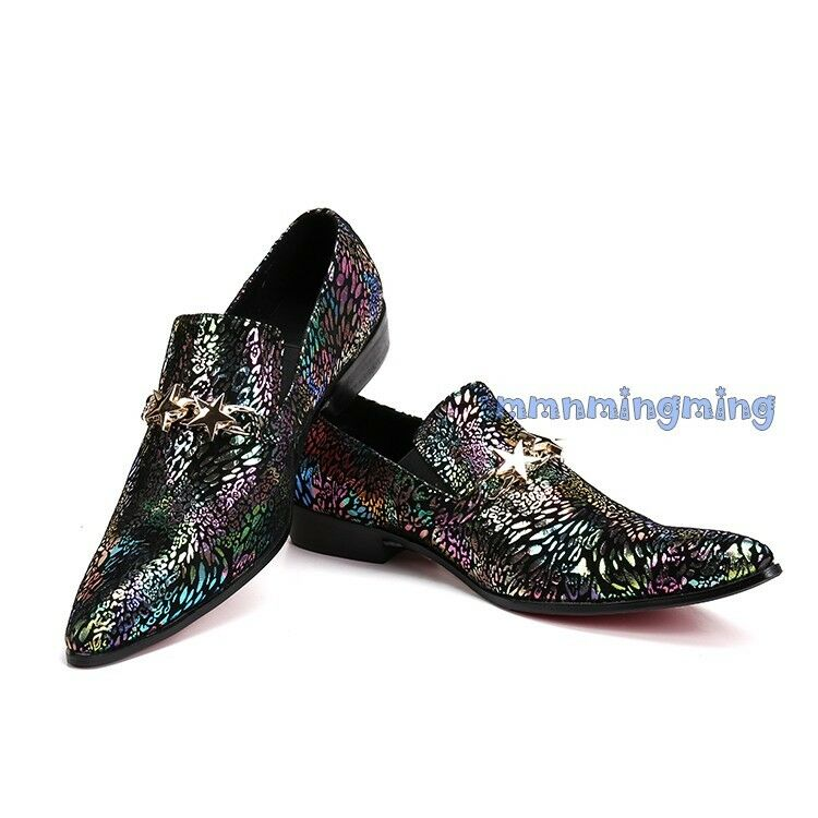 Uomo Pelle multicolor Glitter Metal decor Slip On Loafers Business Formal Shoes