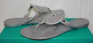 Jack-Rogers-Women-039-s-Georgica-Jelly-Silver-Sandals-New-With-Box