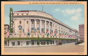 ROCHESTER-NY-Eastman-Theatre-Flags-Vtg-1940-039-s-Postcard