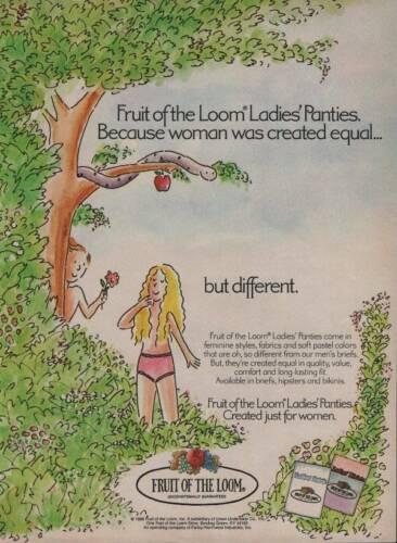 1986 Fruit of the Loom Underwear Panties Vintage PRINT AD Page Adam Eve Snake