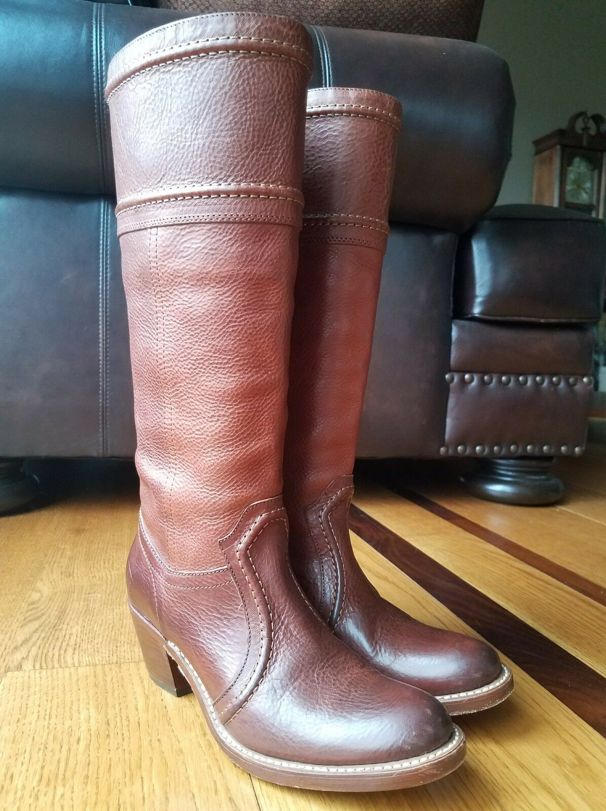 FRYE Woman's Riding Riding Riding Boots Brown Leather Cowboy Western Pull On Knee High Size 7B a76dab