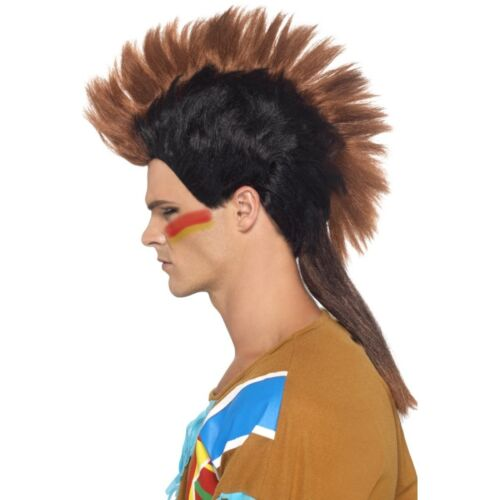 Mens Native American Indian Mohawk Wig Mohican Brave Black Brown Hair Adult NEW