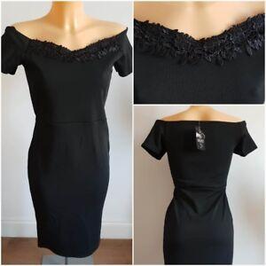 New-Ex-Quiz-Ladies-BLACK-Bardot-Bodycone-Dress-Size-6-16