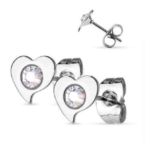 Corazón con Cristal Aretes-Acero Quirúrgico Hipoalergénico-en Caja De Regalo