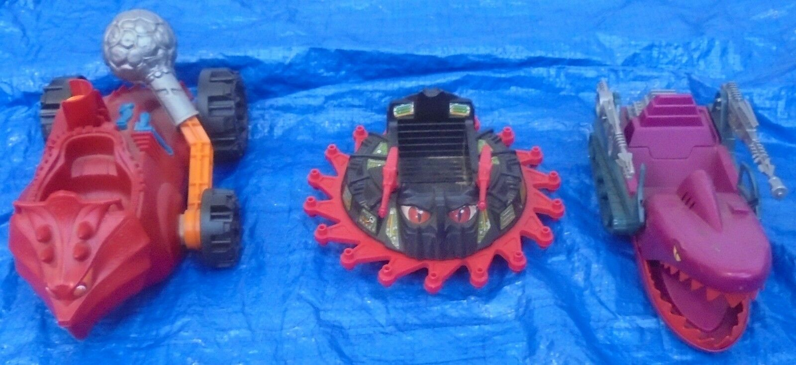 Mattel MOTU Complete Vehicle Lot Land Shark Bashasaurus Roton Masters Universe
