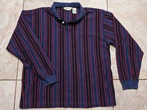90s Gray /& Black Block Stripe Rugby Shirt Men/'s XL 90s Hip Hop Clothing