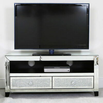 Large Mirrored Glass Sparkly Diamond, Mirrored Glass Corner Tv Stand