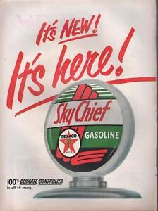 1954 Texaco PRINT AD Sky Chief Vintage Gas Pump Top Fun Colorful Garage Ad