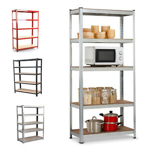 5 TIER METAL SHELVING POWDER COATED HEAVY DUTY STORAGE SHELVES RACK GARAGE