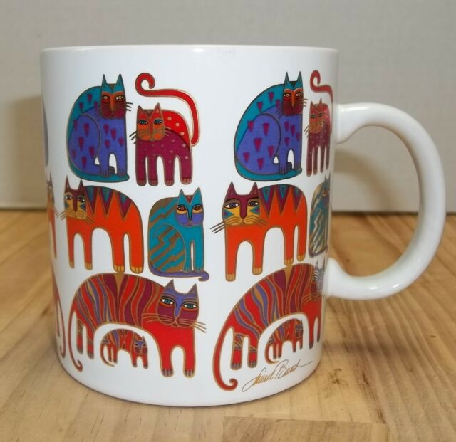 Laurel Burch Fantastic Felines Signed Large Coffee Mug 1988 Colorful Cats
