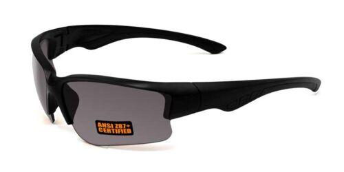 2018 Maxx Sunglasses SS3 Black Half Frame with Ansi Z87 Smoke Lens