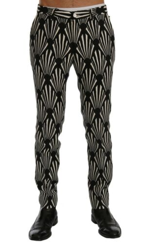 NEW $960 DOLCE /& GABBANA Pants Black White Slim Fit Hemp Linen s IT46 W32