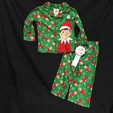 Boys 2T 2-Piece Pajamas Set Elf On The Shelf Green Pants Shirt Christmas Holiday