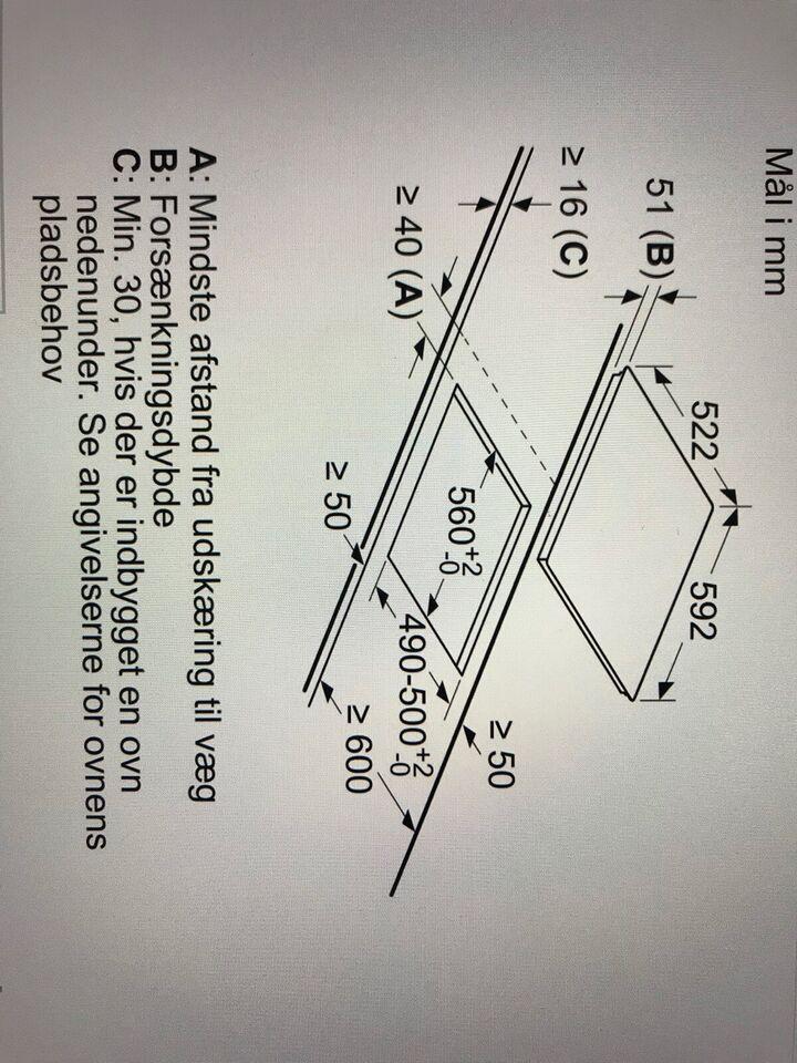 Komfur, Bosch PIE611B18E, b: 59 d: 52 h: 5