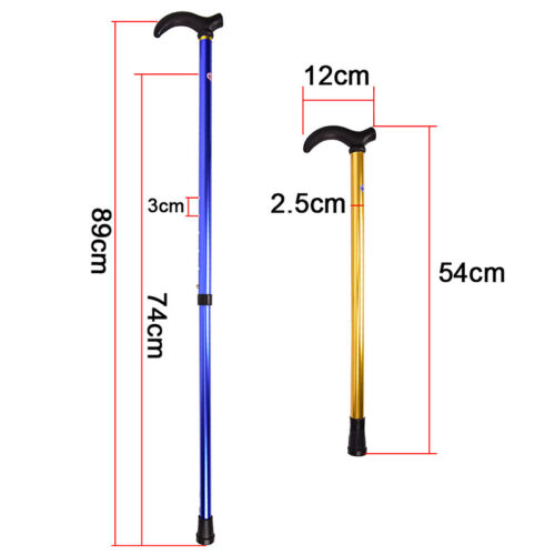 Telescopic Walking Stick Cane Hiking Rubber Tips Aluminium Climbing Equipment