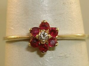 LOVELY-VINTAGE-10K-SOLID-GOLD-APPROX-1-4-CTW-RUBY-amp-DIAMOND-RING-SZ-6-1-2