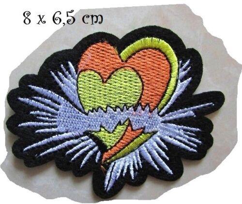 ÉCUSSON PATCH Applique thermocollant ** 8 X 6,5 cm ** Double coeur Noir Blanc