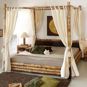 himmelbett 180x200 misool ohne vorhang bettrahmen bambusbett holzbett doppelbett ebay. Black Bedroom Furniture Sets. Home Design Ideas