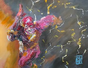Original-Abstract-The-Flash-Running-Palette-Knife-Painting-Comic-Wall-Art-16-034