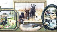 """Sunworthy 10-1 4"""""""" Framed Dogs Prepasted Wallpaper Border PT018113B"""