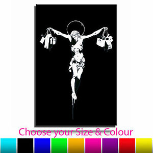 Jesus-Shop-Till-You-Drop-Banksy-Single-Canvas-Wall-Art-Picture-Print