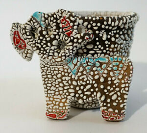 Vintage-Italian-Pottery-Elephant-Planter-Flower-Pot-Mid-Century-Mod-White-Italy