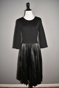 ST-JOHN-COLLECTION-NEW-1295-Milan-Knit-amp-Faux-Leather-Pleated-Dress-Size-4