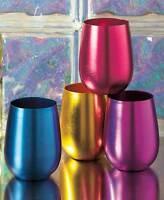 Retro Aluminum Set Of 4 Stemless Wine Glasses