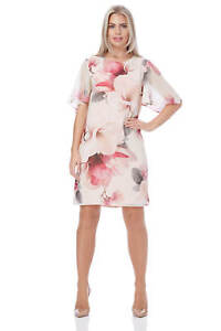 Roman-Originals-Women-039-s-Pink-All-Over-Floral-Print-Chiffon-Dress-Sizes-10-20