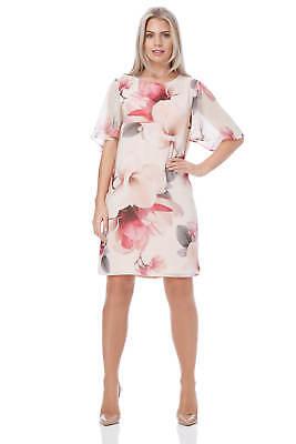 Roman Originals Women/'s Pink Floral Print Chiffon Overlay Dress Sizes 10-20