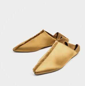 6315506baac49 Image is loading Zara-Frayed-Yellow-Gold-Satin-Flat-Mules-New-