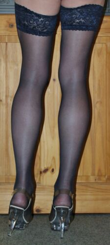 Medium Size Navy 15 Denier LaceTop Satin Sheen Hold Up Stockings High Quality