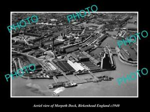 OLD-LARGE-HISTORIC-PHOTO-AERIAL-VIEW-MORPETH-DOCK-BIRKENHEAD-ENGLAND-c1940