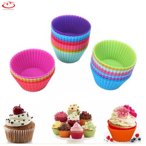 12PCS Silicone Cake Muffin Chocolate Cupcake Bakeware Baking Cup Mold Mould Tool