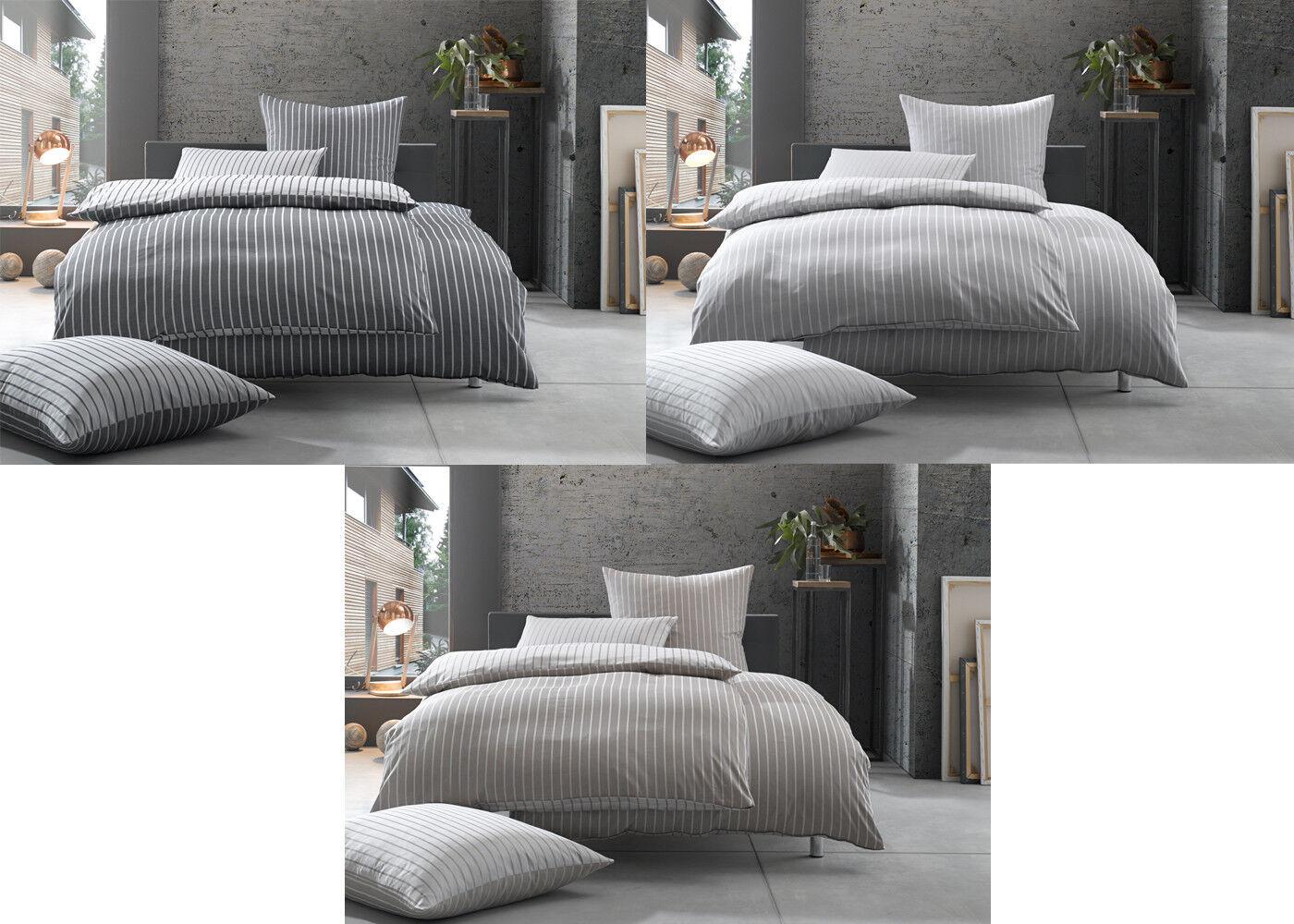 Damast Mako-Satin 100% Baumwolle Streifen Wendebettwäsche schwarz, braun, grau