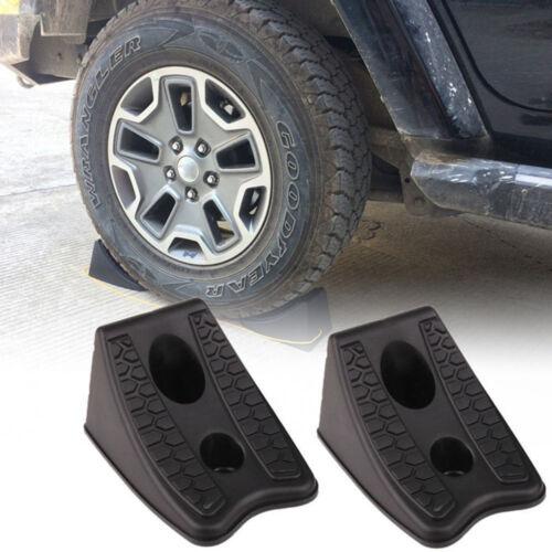 2pcs Car Anti-slip Block Rubber Car Tyre Slip Stopper Wheel Alignment Block