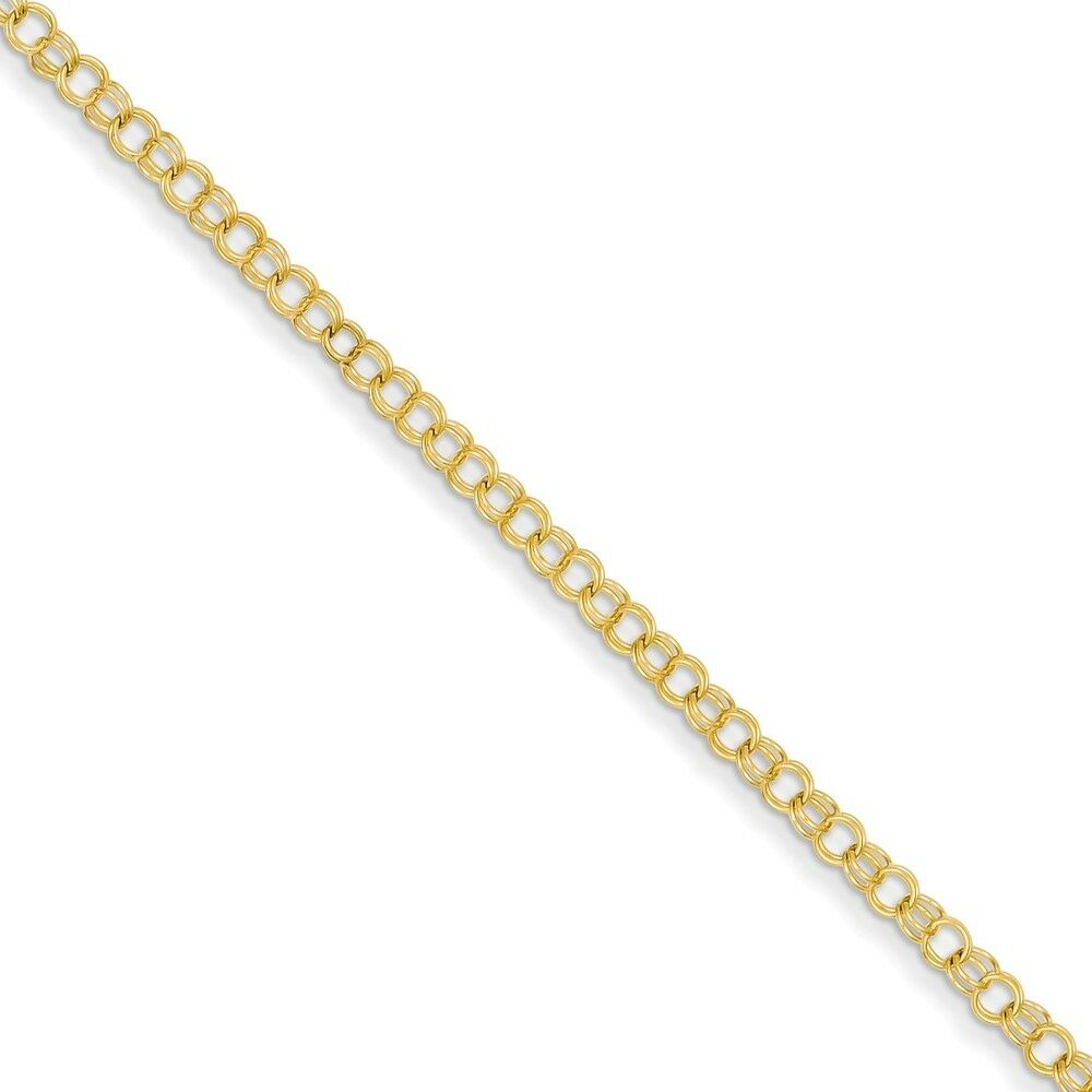 14kt Yellow gold 3.5mm Solid Double Link Charm Bracelet; 8 inch