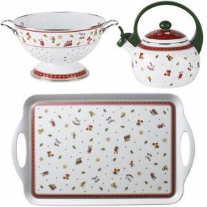 VILLEROY-amp-BOCH-3er-Set-Toy-039-s-Delight-Kitchen-Sieb-Teekessel-Tablett-Weihnachten