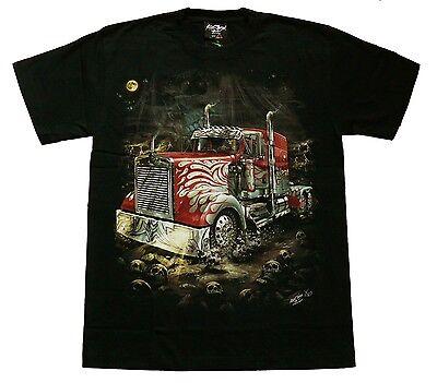 T-Shirt GEISTER-TRUCK Gr.S M L XL,GLOW,Skull Totenkopf LKW,Rocker Trucker Scania