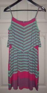 Auditions-Sun-Dress-Pink-Women-039-s-Striped-Stretch-Size-Medium-NWOT