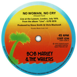 Bob Marley No Woman No Cry Record Label Vinyl Sticker Reggae